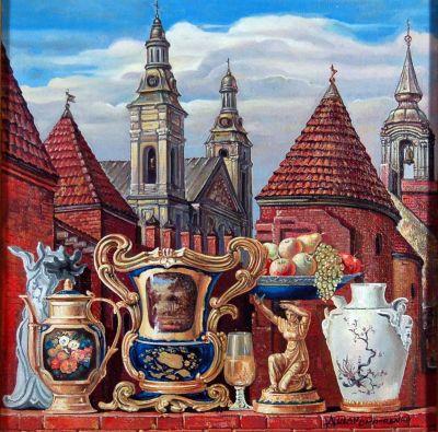 """Э.Улан """"Натюрморт в варшавском старом городе."""""""