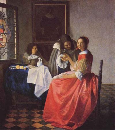 """Я.Вермеер """"Девушка, пьющая вино с двумя кавалерами."""""""