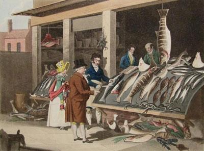 "James Pollard ""London Markets. Fish."""