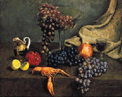 """И.Машков """"Натюрморт с виноградом и раком."""""""