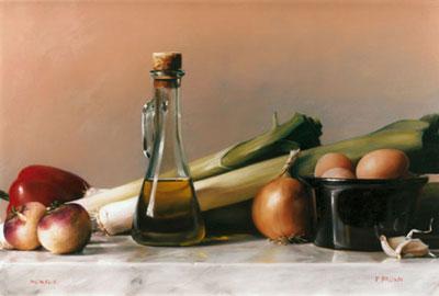 """П.Браун """"Натюрморт с луком пореем и оливковым маслом."""""""