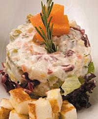 Русский салат в стиле Халлуми.