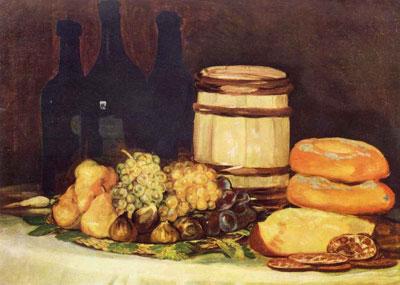 """Ф.Гойя """"Натюрморт с фруктами, бутылками и хлебом."""""""