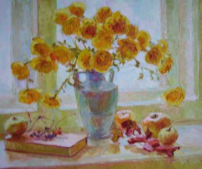 """Н.Кавулич """"Натюрморт с жёлтыми хризантемками."""""""