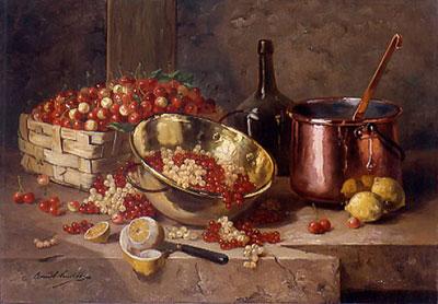"""А.де-Невилль """"Натюрморт с вишнями и смородиной."""""""
