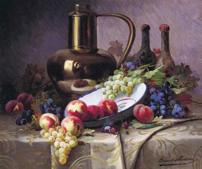 """А.де-Невилль """"Натюрморт с фруктами и вином."""""""