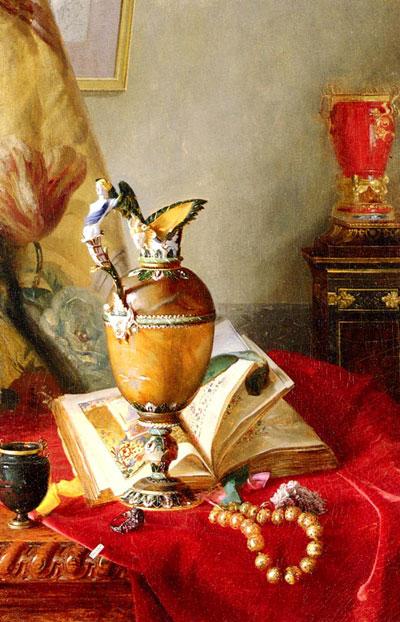 """Б.А.Десгофф """"Натюрморт с кубком и книгой на красной скатерти."""""""