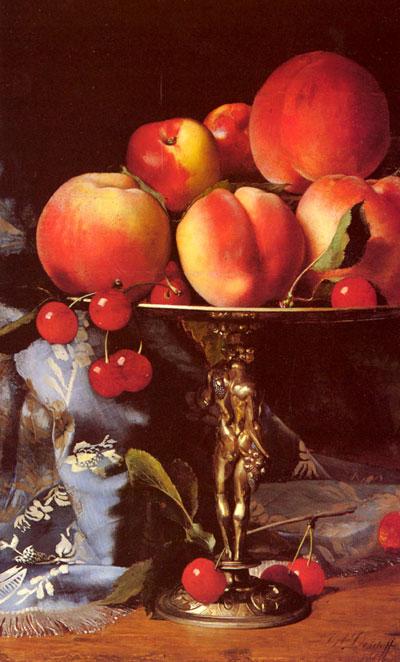 "Б.А.Десгофф ""Натюрморт с персиками, сливами и вишнями."""