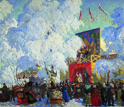 """Б.Кустодиев """"Балаганы, 1917 год."""""""