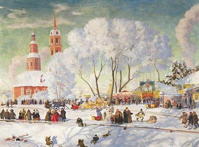 """Б.Кустодиев """"Карусель, 1920."""""""