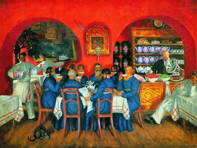 """Б.Кустодиев """"Московский трактир, 1916 год."""""""
