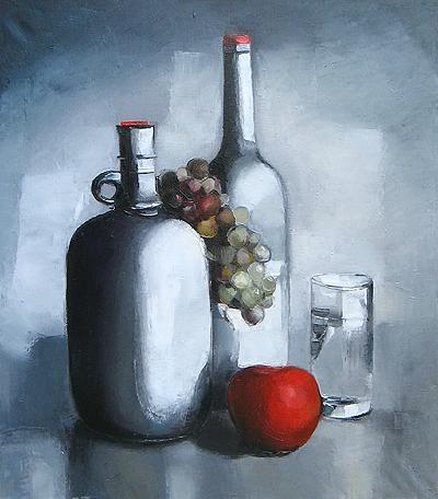 """Д.Садыкова """"Натюрморт с красным яблоком."""""""