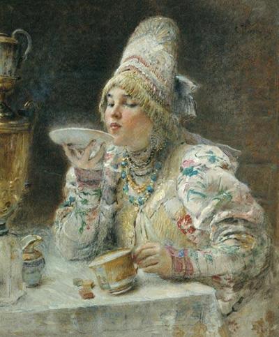 """К.Маковский """"За чаем."""""""