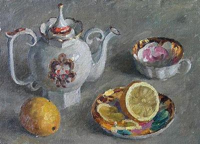 """С.Худяков """"Натюрморт с лимоном и чашкой."""""""