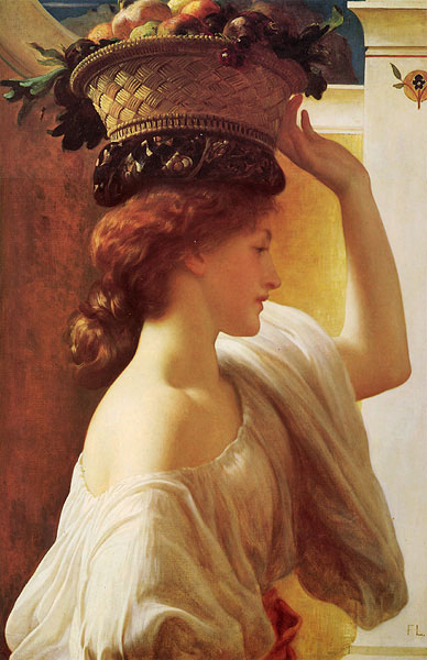 """Frederick Leighton Lord """"Eucharis a girl with a basket of fruit."""""""