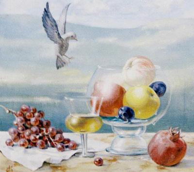 """А.Кичигина """"Натюрморт с птицей."""""""