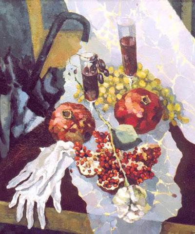 """К.Черномор """"Натюрморт с гранатами и розой."""""""