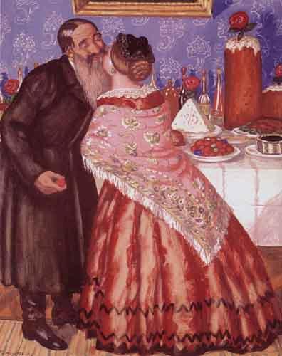 """Б.Кустодиев """"Пасхальная открытка. 1912 г."""""""