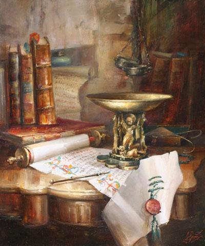 """В.Екимов """"Натюрморт с чашой и свитком."""""""