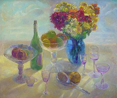 """Ш.Абдуллаева """"Натюрморт с синей вазой."""""""