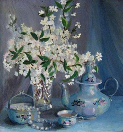 "А.Апостолова ""Натюрморт с цветущей вишней."""