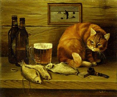 "Г.Литвиненко ""Натюрморт с котом."""