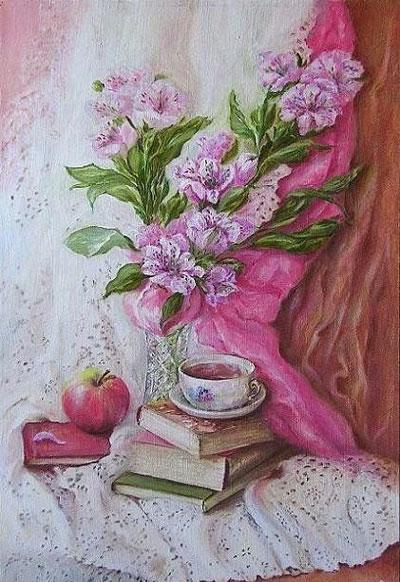 """Н.Лызлова """"Натюрморт с Альстромерией и чашкой чая."""""""