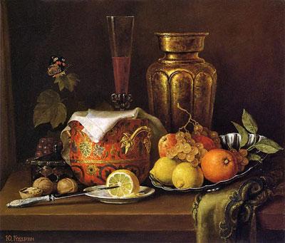 "Ю.Кудрин ""Натюрморт с медной вазой."""