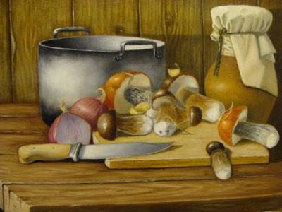 """В.Караханов """"Натюрморт с грибами."""""""