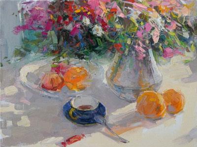 """В.Макаров """"Завтрак в саду."""""""