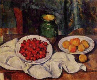 """Поль Сезанн """"Натюрморт с вишнями и персиками."""""""