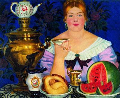 """Б.М.Кустодиев """"Купчиха, пьющая чай."""""""