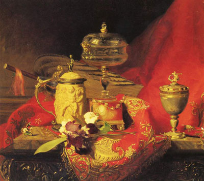 """Б.А.Десгофф """"Натюрморт с ирисом и кубками на красном гобелене."""""""