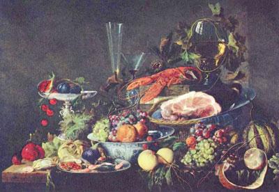 "Хим Ян Давидс-де ""Натюрморт с фруктами и омаром."""