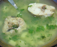 Постный рыбный суп с картофелем и крупой.