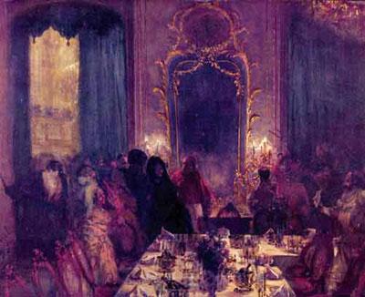"""Адольф Фридрих Эрдман-фон-Менцель """"Ужин в масках."""""""