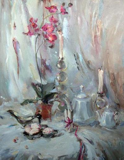 "В.Монсевич ""Натюрморт с орхидеей."""